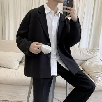 ブレザーの男性は秋に韓国式の少しメーズ港風のゆったりした小さいスーツinsネットの赤いおじゃれの単西男の学生の上着の黒色Lを詰めます。