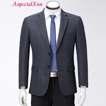 AsppecialXun【ハイエンドブランド】ウールのスーツビジネス中年男性のお父さんは大きいサイズのスーツを着て灰色の格165
