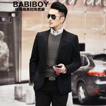 BABIBOYメンズスーツ2020秋冬新作ビジネススーツ花婿礼服若年外套男图色170