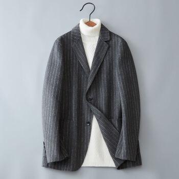 ウールの両面ですね。ウールのスーツは男性2020年秋冬ビジネス少しストライプの手作りのラシャです。
