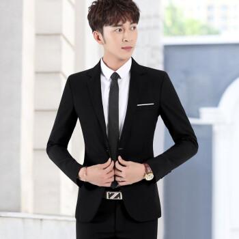 杜宾ジョーンズビジネススーツ男性韓国式修身ファッション青年ダンサー結婚職業スーツメーンズファッション黒(上着+ズボン)XL