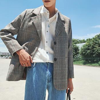 古莱登(GODLIKE)港風カップル服秋のファッションおしゃれ揚げ街に格子を少し詰めた小さいスーツの男性と韓国式のゆったりとした雰囲気の男性、女性と女性のスーツのコートは灰色の2 XLです。