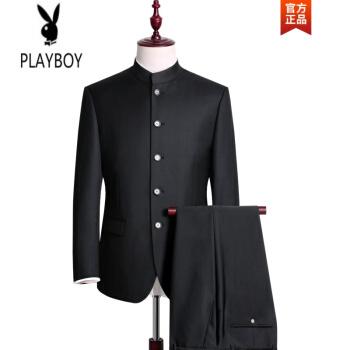 プレイボーイが軽奢でハイエンドブランドのウールの中山装スーツ男性中華立襟スーツの中高年の父の父の父の結婚ドレスの披露宴黒160 A