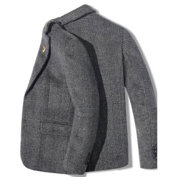 プレイボーイ(PLAYBOY)冬のスーツ男性の上着2020英倫修身男性の厚いウールのコート西の小さいスーツビジネスコート潮灰色L