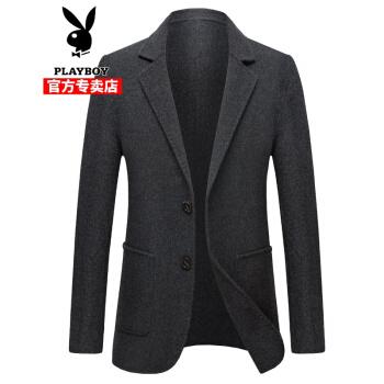 ℘プレイボーイの軽奢で高級なウールの小さいスーツの男性の両面です。コートの秋冬の男性のビジネススーツは羊の綿毛がないです。コートの黒灰は190です。