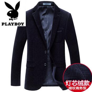 ℘プレイボーイフラッグシップのオフィシャルショップℑ高級メーンズズのスーツ男はビジネス用のスーツの西正装韓国式長袖修身小洋服の外套は紺色185/2 XLです。