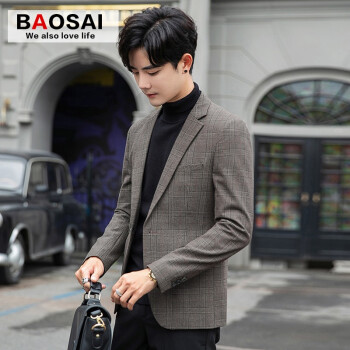 トーチカの格子のスーツの男性は小さいスーツを少し詰めます。韓国式修身青年ビジネスコートの上着の男性は春と秋の新商品の単西カレー色2 XL(やや小さいです。)