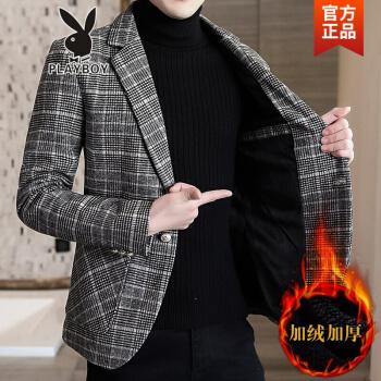 ℘プレイボーイフラッグシップオフィシャルショップℑ加絨厚めのスーツ男性2020韓式おしゃれ毛です。小さいスーツは秋冬スタイルの単西チェックコート灰色のダウンスタイルXLです。