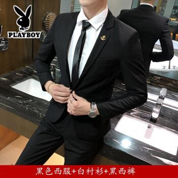 プレイボーイ(新品尚市)スーツ男性韓国式修身職業スーツビジネススーツ男性スーツ大学生ホワイトカラー職工服605ブラックコート+シャツ+ズボンはベルト/ネクタイ/ネクタイ/靴下170/Lをプレゼントします。