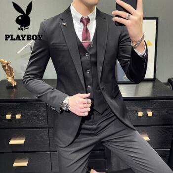 プレイボーイの秋冬は少し格好がいいです。純色スーツ男性スーツ、韓国式青年修身スーツの三点セットは黒っぽい純色(スーツ+ベスト+ズボン)白シャツ+黒ネクタイM
