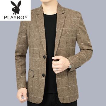 プレイボーイスーツの男性は男性スーツのジャケットを少し詰めて秋冬2020新品男性用上着中年お父さんはシングルZ 99142色185/XL