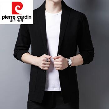 ピルカダンのニットカーディガン男性の新商品です。洋服の襟のセーターの男性はスーツの上着を少し詰めて黒の175を編みます。