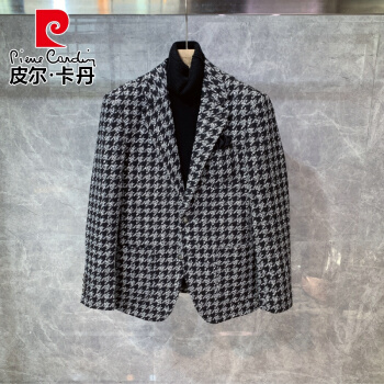 ピルカダン2021新品冬は厚い毛があります。千鳥の格子の修身の小さいスーツの男性は韓国式おゃゃれの服の単西ニットの黒(単西)Sです。