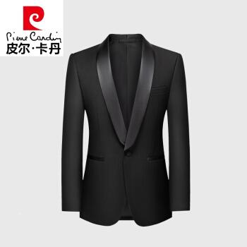 ピルカダン(エリート男性)のサテン青果領塔士多礼服の小さいスーツ男性上着新郎結婚洋服の上着と道連れの服が黒い52/3 XLを編みます。
