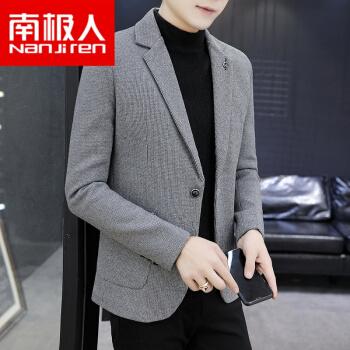 南極人ハイエンドメーンズの新作スーツ男性韓式修身秋冬の毛の厚いラシャのコート男性のスーツに服の灰色(毛をプラスして厚いMをプラスします。