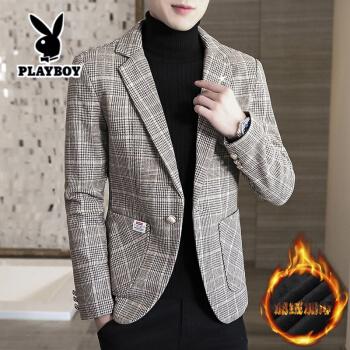 プレイボーイ(都市新貴)秋冬の小さいスーツの男性韓国式修身おしゃれ青年は少し厚めのチェックの毛を詰めています。スーツのコートは灰色の165/Mです。