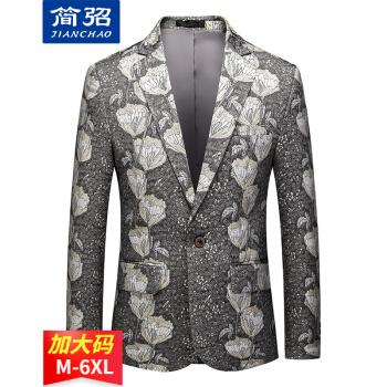 简弨ブレザー男性四季モデル2021新品ファッション英倫風は日常百着の修身プリント一顆の長袖ブレザー男性X 919灰色2 XLを少し詰めます。