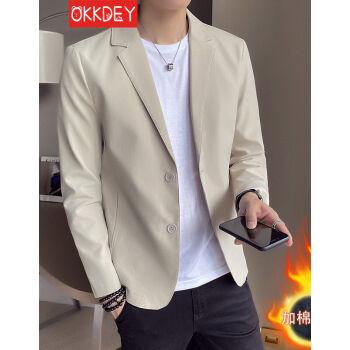 ok deyスーツ男性2020秋冬新品男性スーツおしゃれかっこいいビジネススーツ男性韓国式修身青年加絨厚いコートの純色の上着カーキの色が絨L(110-125斤を提案します)