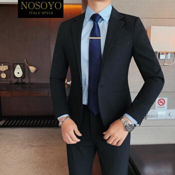nosoyo軽奢ブランド韓国修身スーツ男性スーツファッション男性略装ネット赤かっこいい二点セット英倫風スーツファッションブランド黒(ジャケット)M