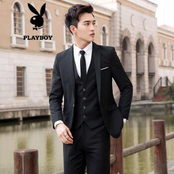 プレイボーイ(PLAYBOY)スーツ男性スーツ男性スーツメンズコート修身ビジネススーツ大サイズ新郎随郎ウェディングドレス黒/ユニフォームXL/120-135斤