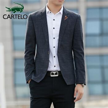 カディオクロコダイルスーツ男性ビジネス略装職業正装男性修身仕事小スーツ結婚花婿礼服外套1 F 24101887黒灰色XL