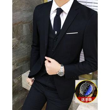 スーツ男性5点セット韓国式修身青少年スーツ学生スーツ結婚ファッション黒スーツ+ベスト+ネクタイ+シャツ(腕時計送り)L