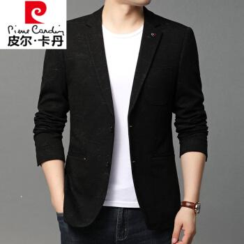 ピルカダン2020秋冬のスーツ男性の襟を少し開けて、小さなスーツのコートを着た青年メルズビジネス韓国式ニット黒175/110/L