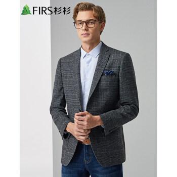 FIRSFIRSスーツ男性秋冬新品男性ビジネス少しチェック柄西外套深灰185/98 A