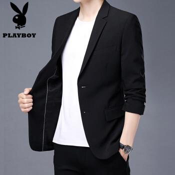プレイボーイスーツの男性は上着を少し詰めます。韓国式の職業小さいスーツは秋冬の修身単品の西の格好がいいです。上着はメンズ1198黒です。