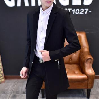 元玠春秋の新品の風衣メンズ理髪師の中には長いコートがあります。韓国式スーツの修身師スーツのコートは単西メーズの作業服を少し詰めます。(Tシャツを送る)L/170(100~115斤ぐらいをオススメします。)