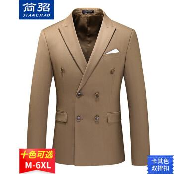 シンプルスーツ男性四季モデル2021新品ファッションイギリス風ビジネス略装パーティーには、純色ダブルボタンスーツ男性X 7110 Aカーキ色5 XLがセットされています。