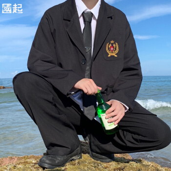 唐揚げ街dk小さいブレザー男子学生韓国式スーツjk全套バッジ刺繍学院風ジャケット黒XL