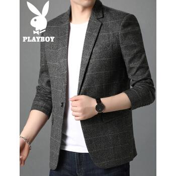 プレイボーイスーツ男性2020秋冬新品男性青年スーツ姿韓国式修身カッコイイおしゃれビジネススーツ男性スーツ上着H 2903浅灰XL/190