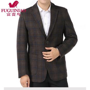 富貴鳥中年男性スーツ男性スーツスーツスーツ、父スーツ、秋冬スタイル男性上着、コーヒー色180。