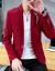 北极绒修身小洋服男秋新作ビジネス紳士青年ファッション正装おしゃれスーツファッションブランド百组純色単西随郎服白M
